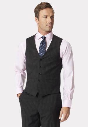 Charcoal Stripe Avalino Crease Resistant Washable Waistcoat