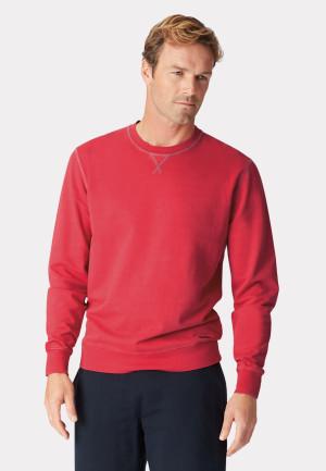 Bath Red Garment Washed Crew Neck Sweatshirt