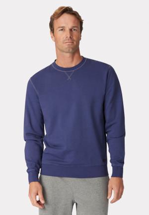 Bath Navy Garment Washed Crew Neck Sweatshirt