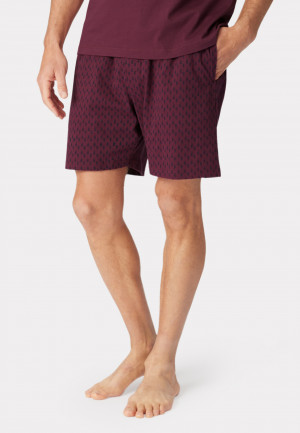 Masham Wine with Feather Print Design Jersey Lounge Shorts