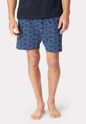 Masham Denim Blue with Feather Print Design Jersey Lounge Shorts