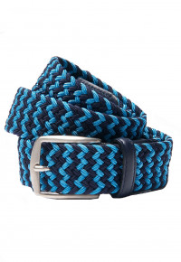 Navy and Sky Blue Plaited Stretch Belt