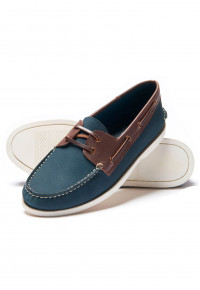 Navy And Tan Boat Shoe With Rubber Sole