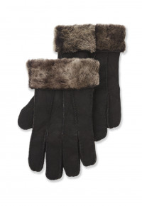 Brown Sheepsking Glove with Fur Cuff