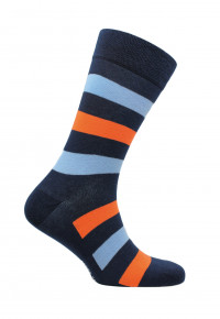 Bude Navy with Blue and Orange Stripe Sock