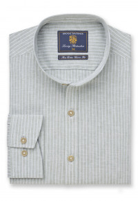 Grandad Collar Sage Butcher's Stripe Cotton Linen Shirt