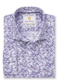 Classic and Tailored Fit Business Casual Lavender Floral Print Shirt