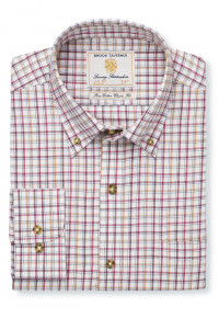 "33.5"" Sleeve Rouge, Gold And Wine Check Single Cuff Shirt"