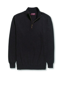 Dallas Black Zip Neck Sweater