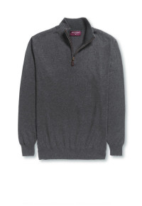 Dallas Charcoal Zip Neck Sweater