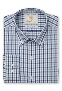 Long Sleeve Navy And Aqua Gingham Shirt