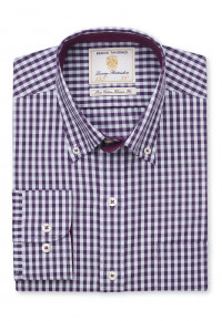 Classic and Tailored Fit Purple and Blue Gingham Shirt