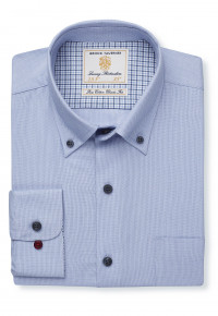 Sky Blue Dobby Button Down Collar Single Cuff Shirt