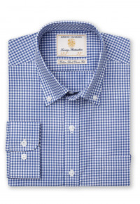 Classic Fit Navy Gingham Single Cuff Shirt