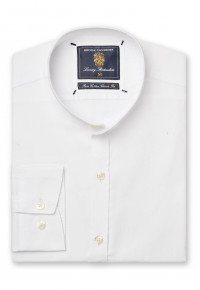 Grandad Collar Long Sleeve White Oxford Shirt
