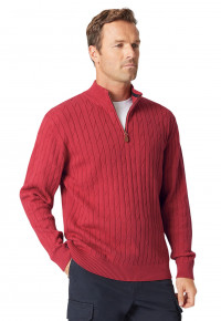 Byford Claret Cable Knit Zip Neck Jumper