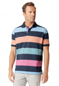 Devizes Navy, Sky Blue, Apricot, Raspberry and Aqua Hoop Soft Handle  Piqué Polo Shirt
