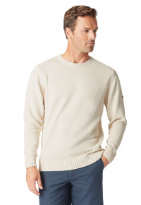Earby Ecru Plain Knit Cotton Crew Neck Jumper