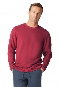 Earby Claret Plain Knit Cotton Crew Neck Jumper