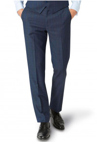 Hitchen Tailored Fit Three Piece Blue Check Suit Trouser