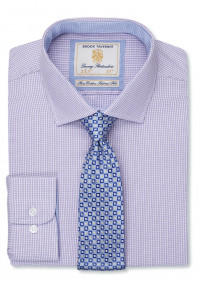 Classic And Tailored Fit Lilac Dobby Fine Check Single Cuff Shirt
