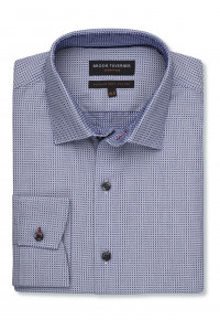 Signature Navy Circles Single Cuff Tailored Fit Shirt