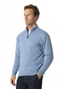 Taverham Sky Blue Luxury Cotton Merino Zip Neck Sweater