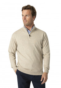 Taverham Stone Luxury Cotton Merino Zip Neck Sweater