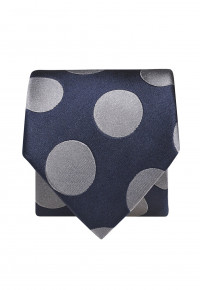Navy With Silver Spot 100% Silk Tie