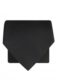 Plain Black Twill 100% Silk Tie