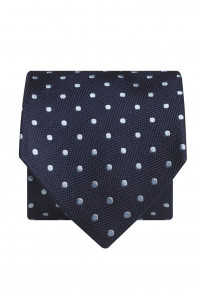 Navy With Sky Spot 100% Silk Tie