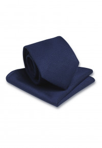 Plain Navy Hanky And Tie Set