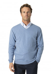 Watton Sky Blue Luxury Cotton Merino V-Neck Sweater