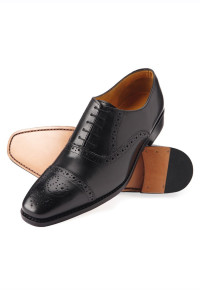 Windsor Black Semi-Brogue Leather Sole And Goodyear Construction