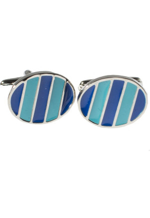 Blue And Turquoise Oval Chrome Cufflinks