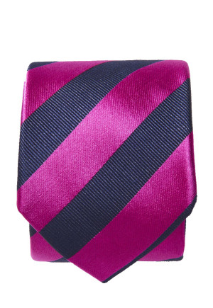 Fuschia And Navy Stripe 100% Silk Tie
