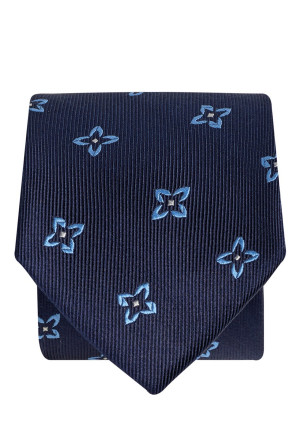 Navy With Blue Flower 100% Silk Tie