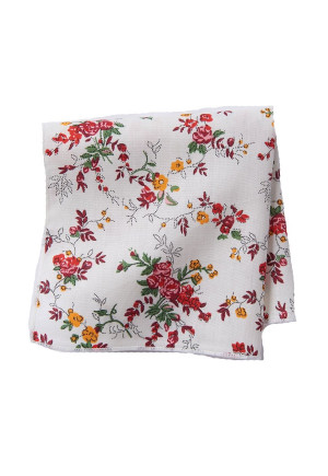 White With Red Rose 100% Silk Pocket Square