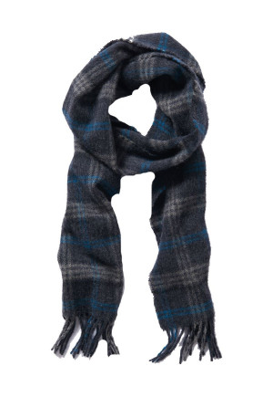 Charcoal, Navy And Grey Check 100% Lambswool Scarf