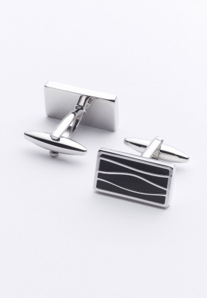 Black Pattern Chrome Cufflinks