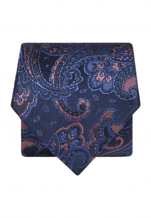 Blue with Pink Paisley Silk Tie