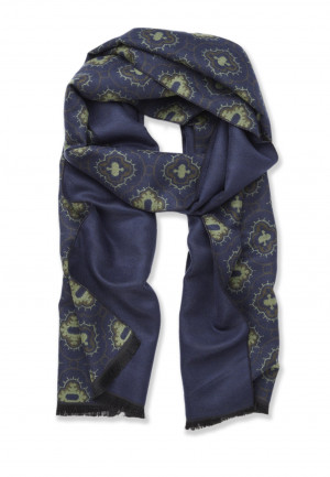 Blue with Medallion Design Lightweight Scarf