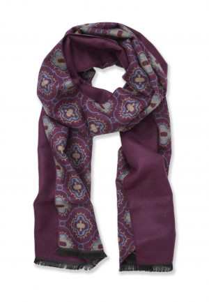 Wine with Medallion Design Lightweight Scarf
