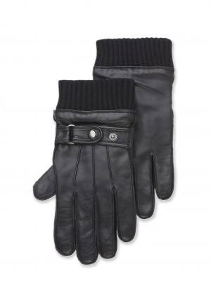 Black Leather Glove with Knitted Wrist
