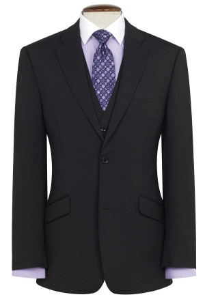 Black Aldwych Three Piece Washable Suit - Waistcoat Available