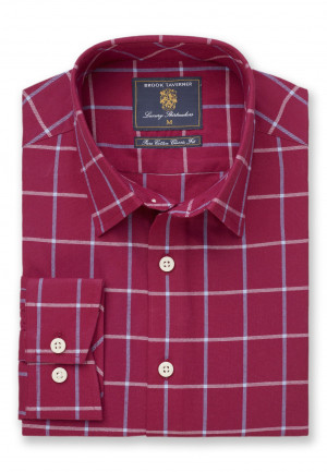 Classic and Tailored Fit Strawberry and Sky Blue Grid Check Shirt
