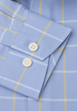 Classic and Tailored Fit Sky Blue and Lemon Grid Check Shirt