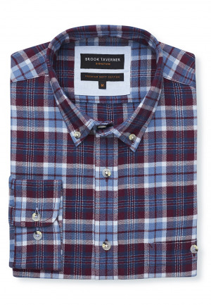 Tailored Fit Long Sleeve Wine, Navy and Blue Check Soft Touch Oxford Button Down Collar Shirt