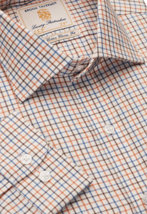 Short, Regular And Long Sleeve Ginger And Navy Micro Tattersall Check Single Cufff Shirt