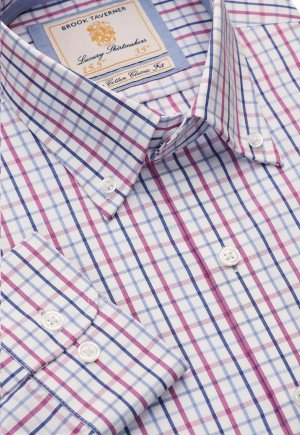 Long Sleeve Navy, Blue And Pink Grid Check Button Down Collar Cotton Shirt